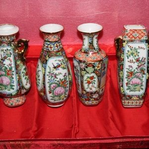 4 SMALL COLLECTION CHINESE VASES 10CM HEIGHT